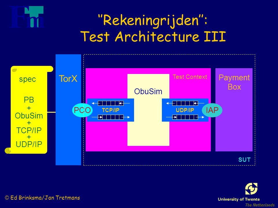 © Ed Brinksma/Jan Tretmans Test Context ObuSim spec PB + ObuSim + TCP/IP + UDP/IP Payment Box TCP/IP TorX ''Rekeningrijden'': Test Architecture III PCO SUT UDP/IP IAP