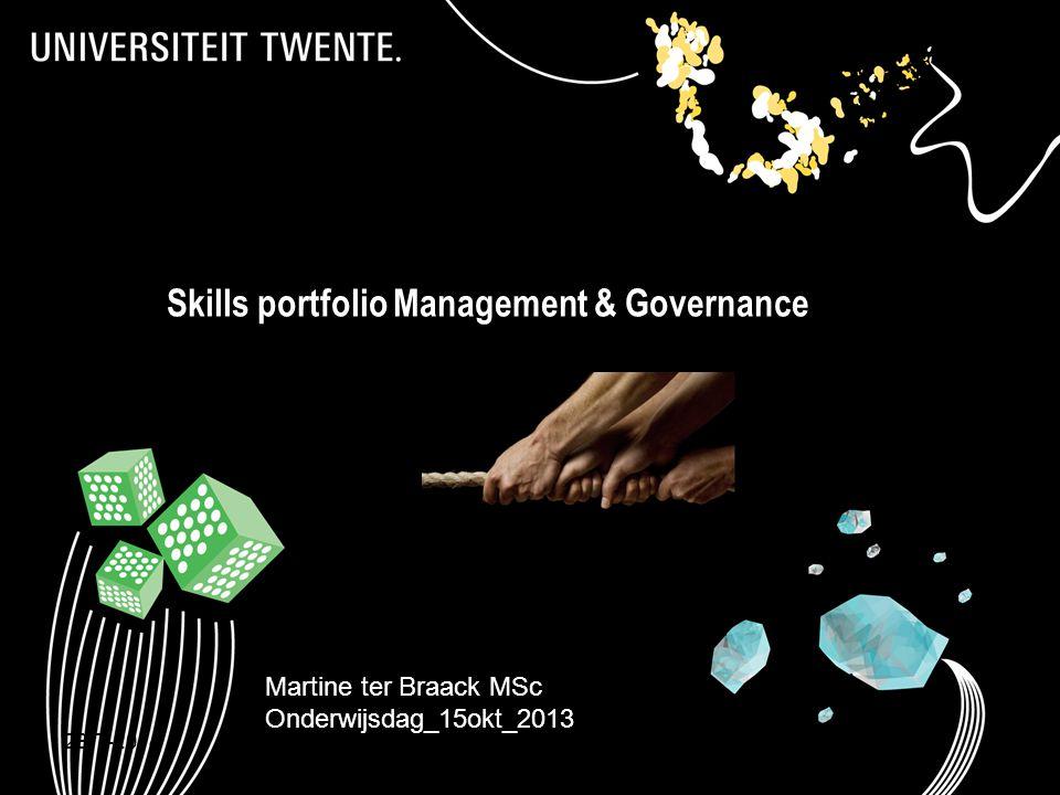 28-7-20141 Skills portfolio Management & Governance Martine ter Braack MSc Onderwijsdag_15okt_2013 Skillsportfolio Management & Governance _ onderwijs