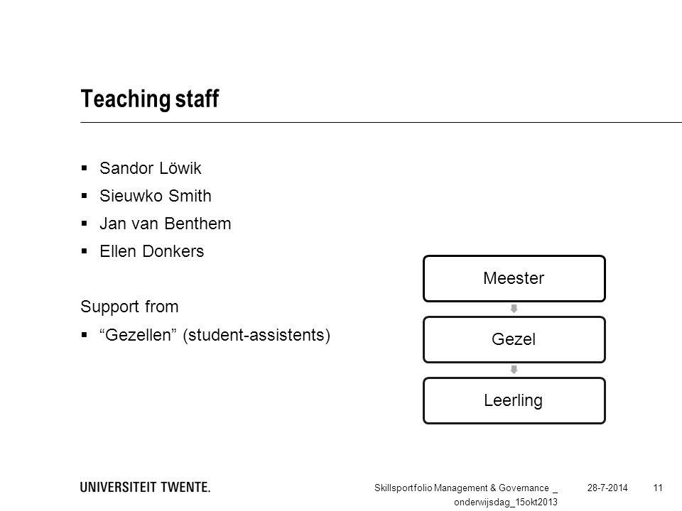 "Teaching staff  Sandor Löwik  Sieuwko Smith  Jan van Benthem  Ellen Donkers Support from  ""Gezellen"" (student-assistents) 28-7-2014Skillsportfoli"