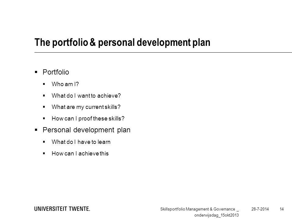The portfolio & personal development plan  Portfolio  Who am I.