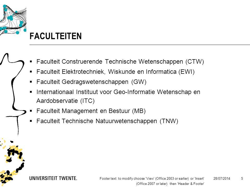 28/07/2014Footer text: to modify choose View (Office 2003 or earlier) or Insert (Office 2007 or later) then Header & Footer 5 FACULTEITEN  Faculteit Construerende Technische Wetenschappen (CTW)  Faculteit Elektrotechniek, Wiskunde en Informatica (EWI)  Faculteit Gedragswetenschappen (GW)  Internationaal Instituut voor Geo-Informatie Wetenschap en Aardobservatie (ITC)  Faculteit Management en Bestuur (MB)  Faculteit Technische Natuurwetenschappen (TNW)