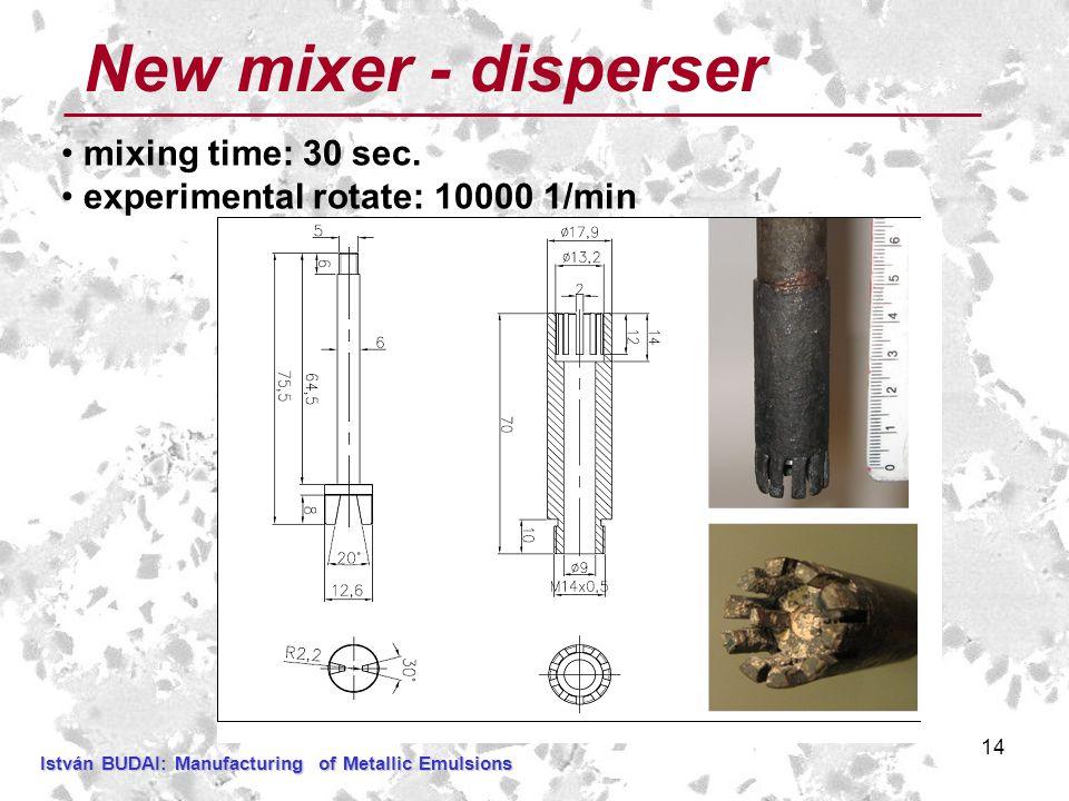 14 New mixer - disperser mixing time: 30 sec.