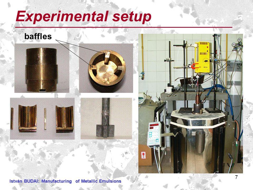 7 Experimental setup baffles István BUDAI:Manufacturing of Metallic Emulsions István BUDAI: Manufacturing of Metallic Emulsions