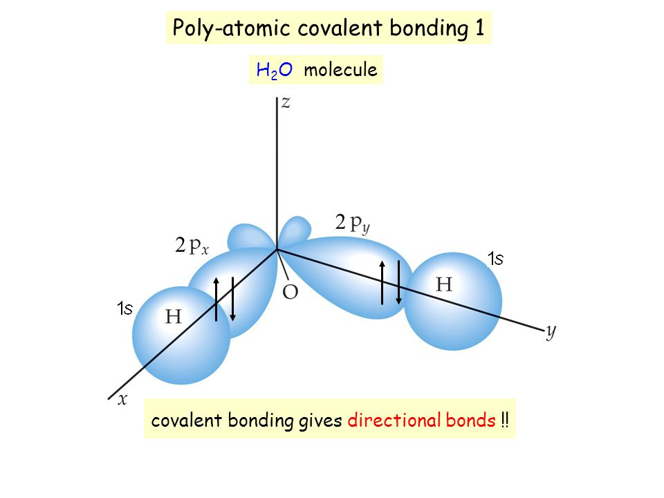 Poly-atomic covalent bonding 1 H 2 O molecule 2 2 covalent bonding gives directional bonds !!