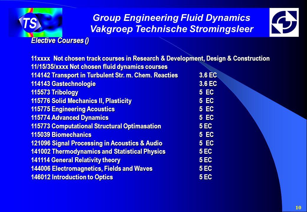 10 Group Engineering Fluid Dynamics Vakgroep Technische Stromingsleer Elective Courses () 11xxxx Not chosen track courses in Research & Development, Design & Construction 11/15/35/xxxx Not chosen fluid dynamics courses 114142 Transport in Turbulent Str.