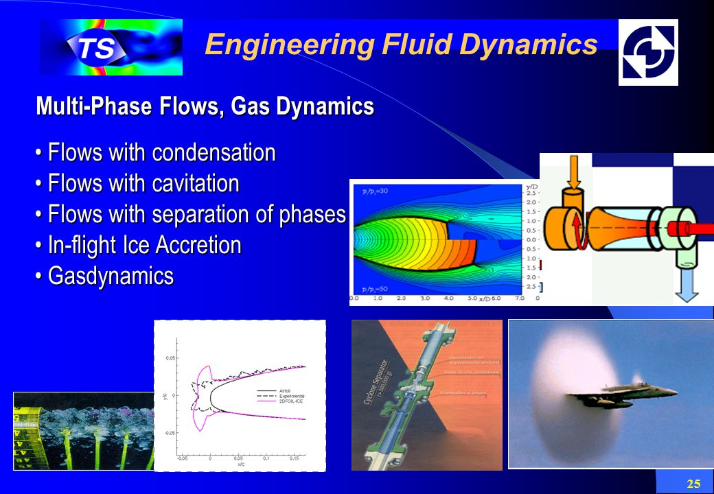 25 Engineering Fluid Dynamics Multi-Phase Flows, Gas Dynamics Flows with condensation Flows with condensation Flows with cavitation Flows with cavitat