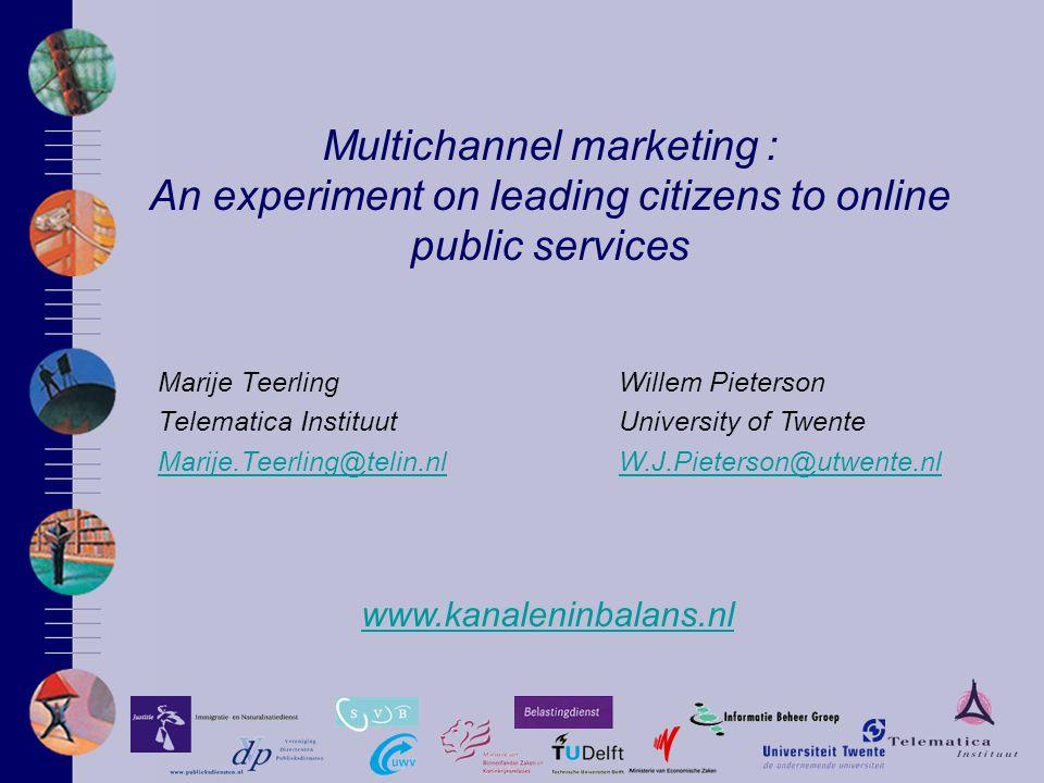Multichannel marketing : An experiment on leading citizens to online public services Marije Teerling Telematica Instituut Marije.Teerling@telin.nl www.kanaleninbalans.nl Willem Pieterson University of Twente W.J.Pieterson@utwente.nl