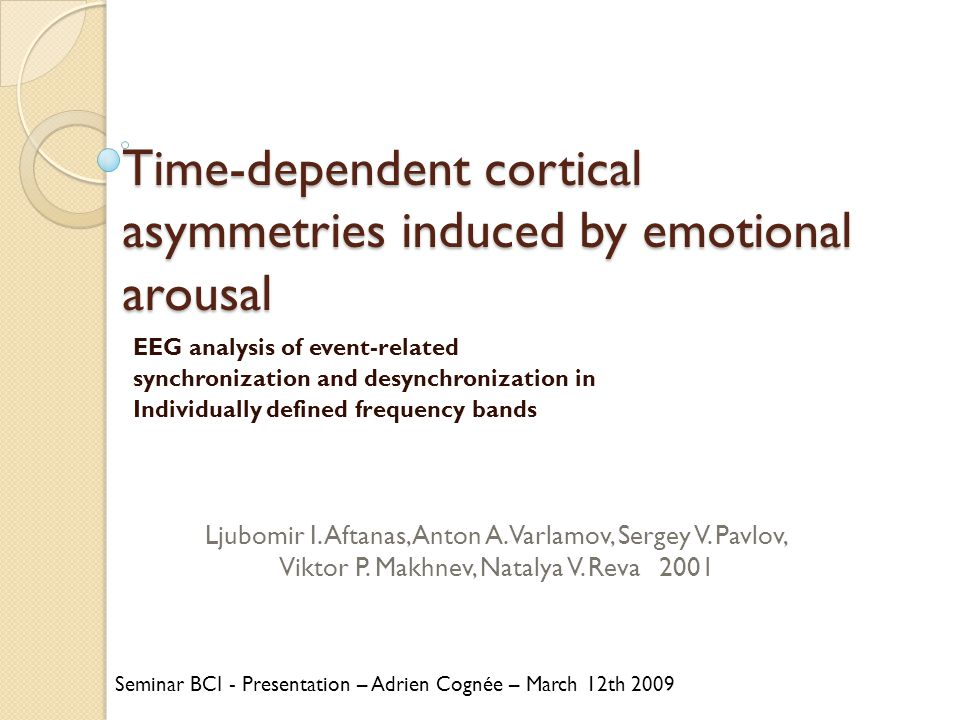 Time-dependent cortical asymmetries induced by emotional arousal EEG analysis of event-related synchronization and desynchronization in Individually d