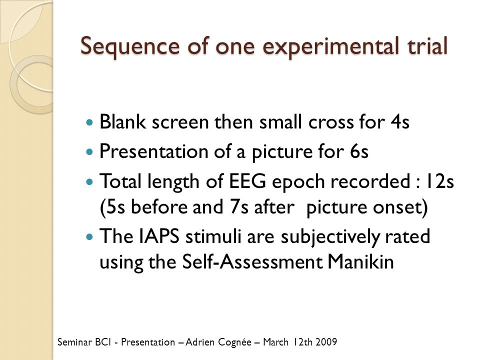 Sequence of one experimental trial Blank screen then small cross for 4s Presentation of a picture for 6s Total length of EEG epoch recorded : 12s (5s