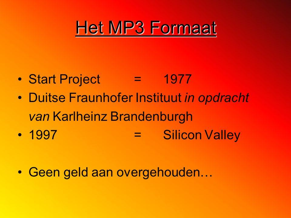 Het MP3 Formaat Start Project =1977 Duitse Fraunhofer Instituut in opdracht van Karlheinz Brandenburgh 1997 =Silicon Valley Geen geld aan overgehouden…