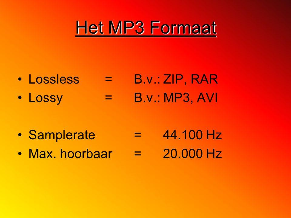 Lossless = B.v.: ZIP, RAR Lossy= B.v.: MP3, AVI Samplerate = 44.100 Hz Max. hoorbaar= 20.000 Hz