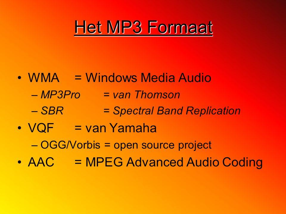 Het MP3 Formaat WMA = Windows Media Audio –MP3Pro= van Thomson –SBR= Spectral Band Replication VQF = van Yamaha –OGG/Vorbis = open source project AAC= MPEG Advanced Audio Coding