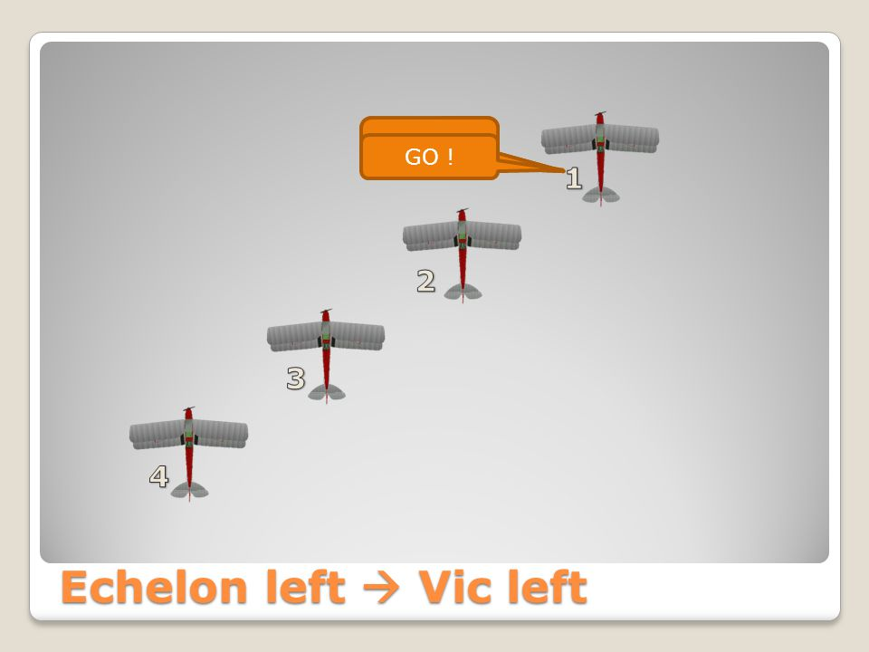 VIC left  'Line Astern'  Echelon right Seppe Formation Echelon Right GO !