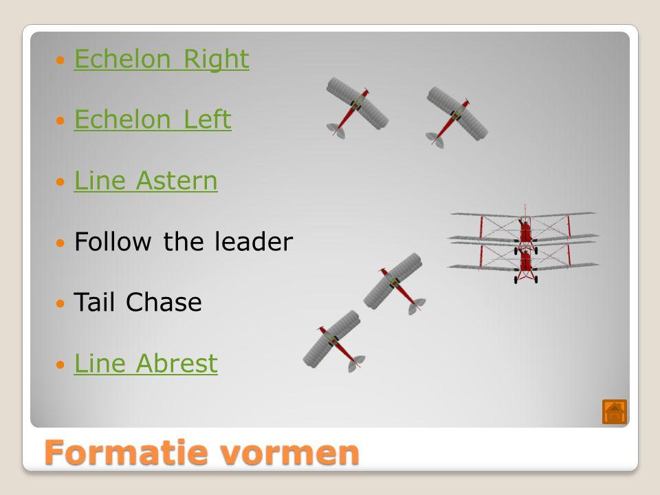 Formatie vormen Echelon Right Echelon Left Line Astern Follow the leader Tail Chase Line Abrest