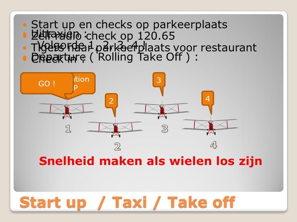 Start up / Taxi / Take off Start up en checks op parkeerplaats Zelf radio check op 120.65 Tigers naar parkeerplaats voor restaurant Check in : Seppe Formation CHECK IN 2 3 4 Uittaxien : Volgorde 1, 2, 3, 4 .