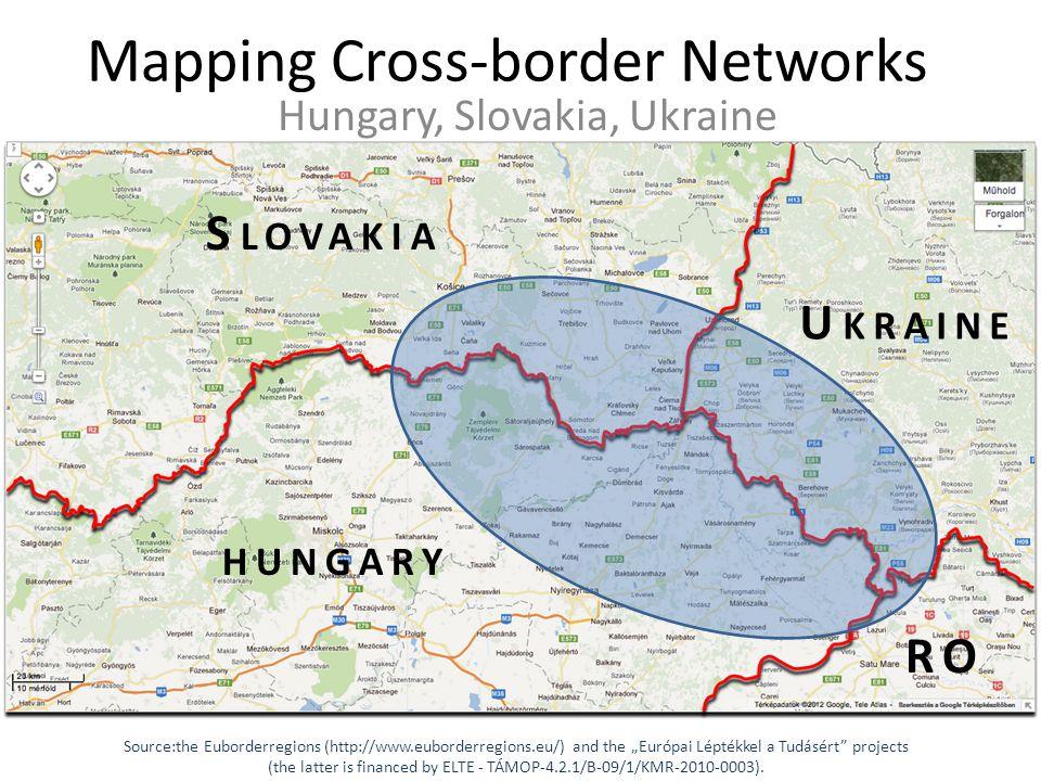 "Mapping Cross-border Networks Hungary, Slovakia, Ukraine Source:the Euborderregions (http://www.euborderregions.eu/) and the ""Európai Léptékkel a Tudásért projects (the latter is financed by ELTE - TÁMOP-4.2.1/B-09/1/KMR-2010-0003)."