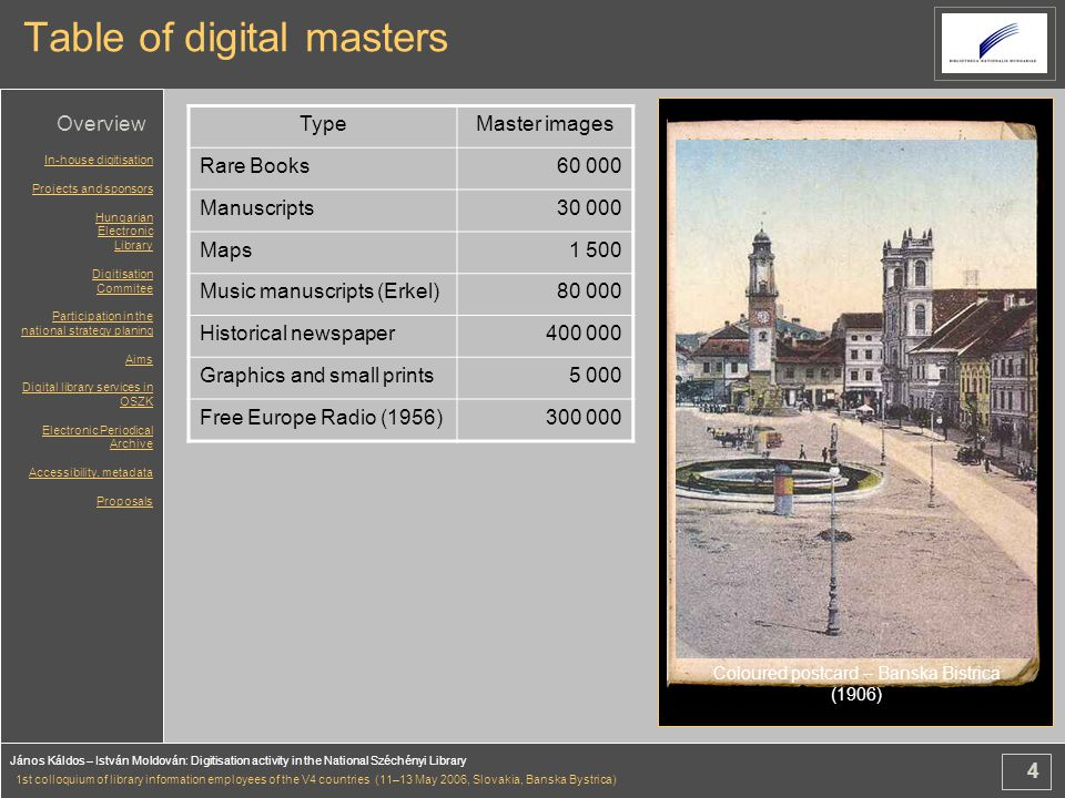 4 János Káldos – István Moldován: Digitisation activity in the National Széchényi Library 1st colloquium of library information employees of the V4 countries (11–13 May 2006, Slovakia, Banska Bystrica) Table of digital masters TypeMaster images Rare Books60 000 Manuscripts30 000 Maps1 500 Music manuscripts (Erkel)80 000 Historical newspaper400 000 Graphics and small prints5 000 Free Europe Radio (1956)300 000 Coloured postcard – Banska Bistrica (1906) In-house digitisation Projects and sponsors Hungarian Electronic Library Digitisation Commitee Participation in the national strategy planing Aims Digital library services in OSZK Electronic Periodical Archive Accessibility, metadata Proposals Overview