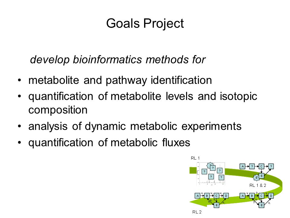 Goals Project develop bioinformatics methods for metabolite and pathway identification quantification of metabolite levels and isotopic composition analysis of dynamic metabolic experiments quantification of metabolic fluxes