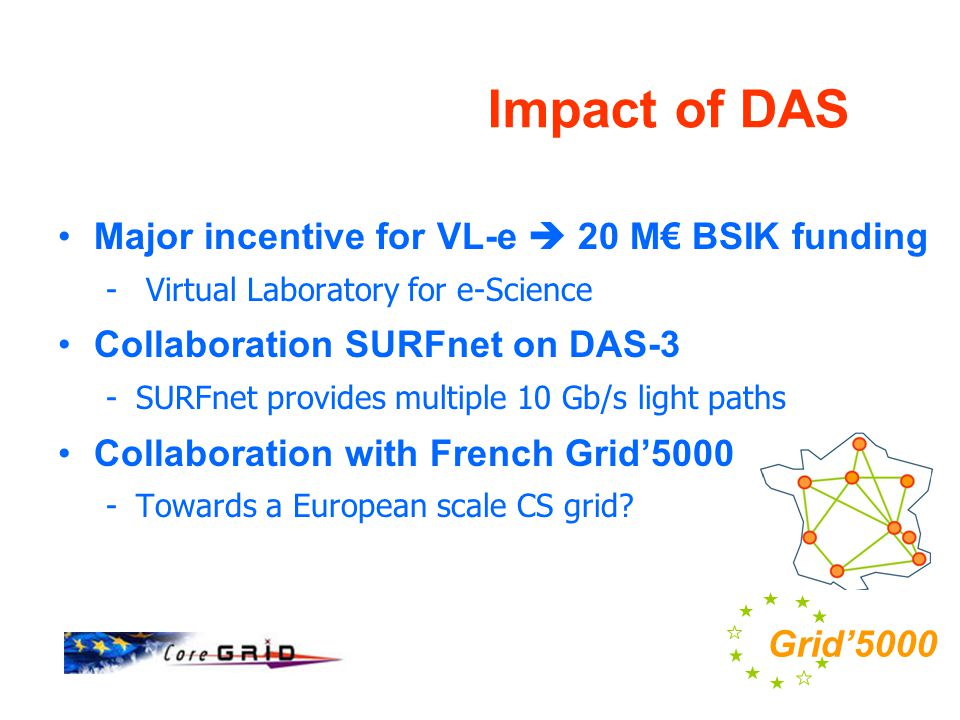 Impact of DAS Major incentive for VL-e  20 M€ BSIK funding - Virtual Laboratory for e-Science Collaboration SURFnet on DAS-3 -SURFnet provides multiple 10 Gb/s light paths Collaboration with French Grid'5000 -Towards a European scale CS grid.