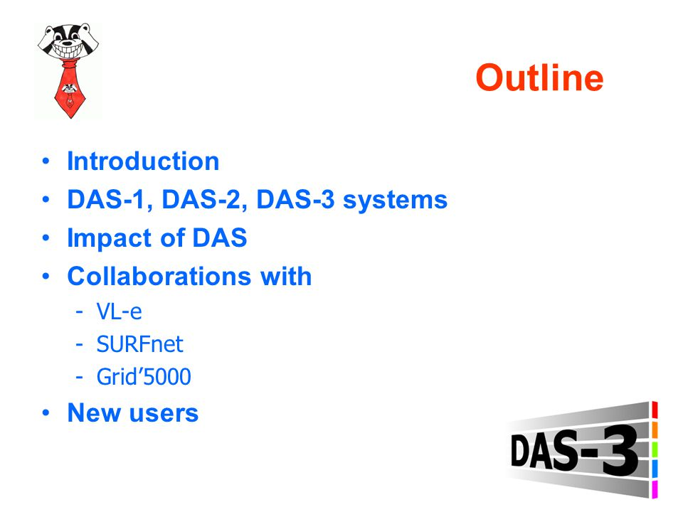 Outline Introduction DAS-1, DAS-2, DAS-3 systems Impact of DAS Collaborations with -VL-e -SURFnet -Grid'5000 New users