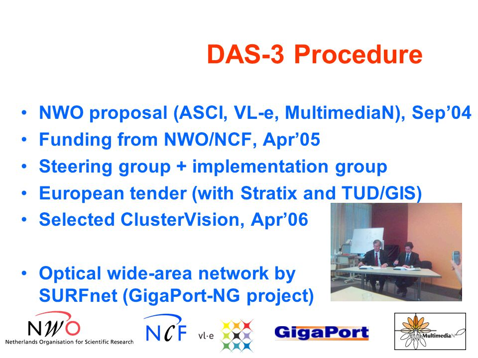 DAS-3 Procedure NWO proposal (ASCI, VL-e, MultimediaN), Sep'04 Funding from NWO/NCF, Apr'05 Steering group + implementation group European tender (with Stratix and TUD/GIS) Selected ClusterVision, Apr'06 Optical wide-area network by SURFnet (GigaPort-NG project)