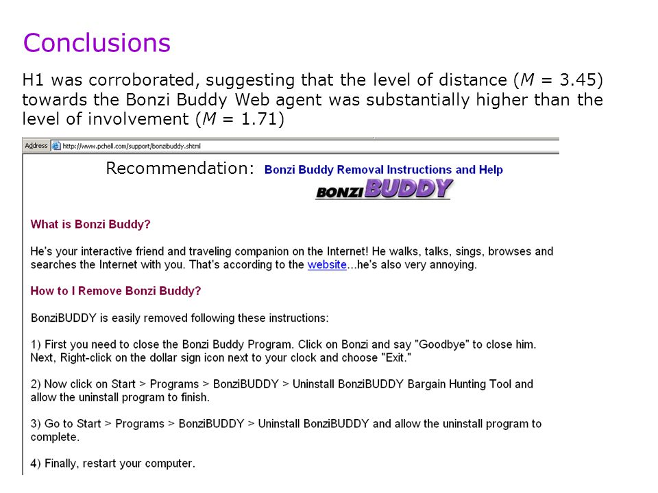 H1 was corroborated, suggesting that the level of distance (M = 3.45) towards the Bonzi Buddy Web agent was substantially higher than the level of involvement (M = 1.71) Conclusions Recommendation: