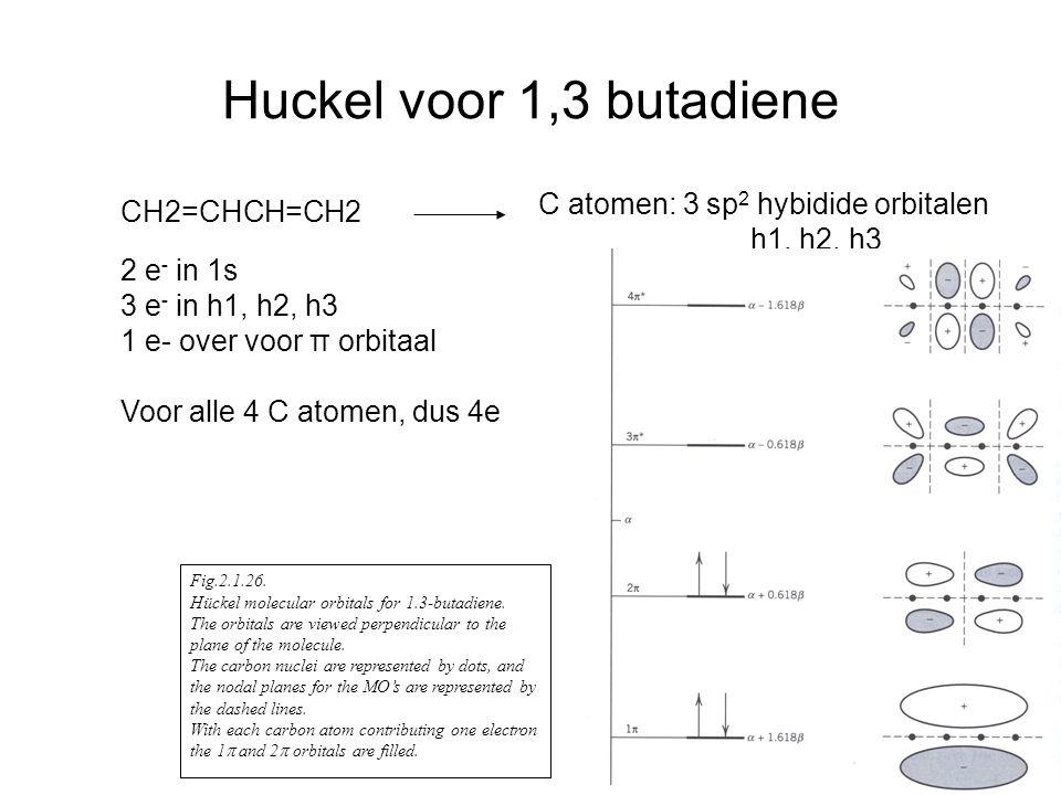 Huckel voor 1,3 butadiene CH2=CHCH=CH2 C atomen: 3 sp 2 hybidide orbitalen h1, h2, h3 2 e - in 1s 3 e - in h1, h2, h3 1 e- over voor π orbitaal Voor alle 4 C atomen, dus 4e Fig.2.1.26.