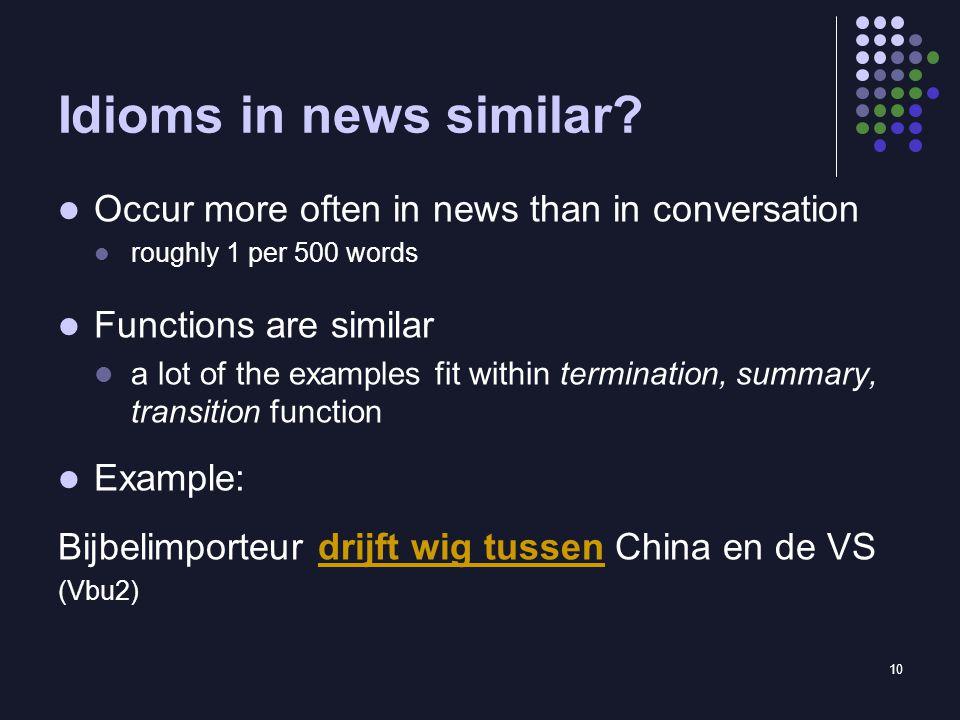 10 Idioms in news similar.