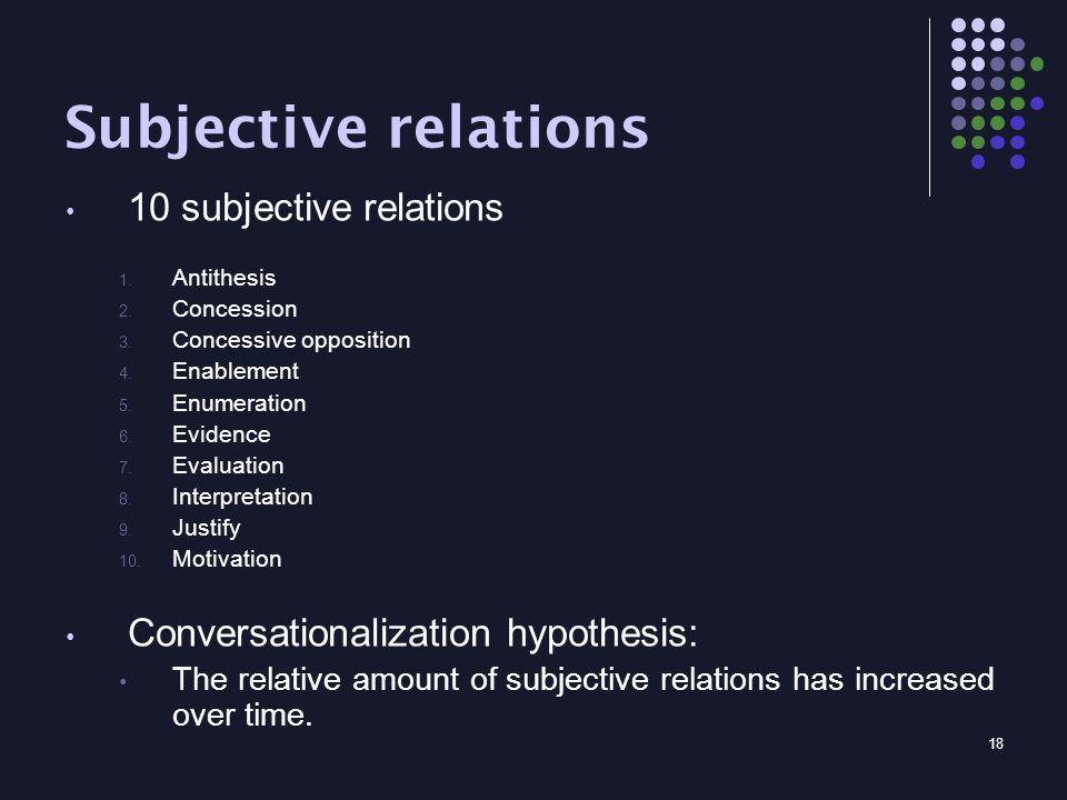 18 Subjective relations 10 subjective relations 1.