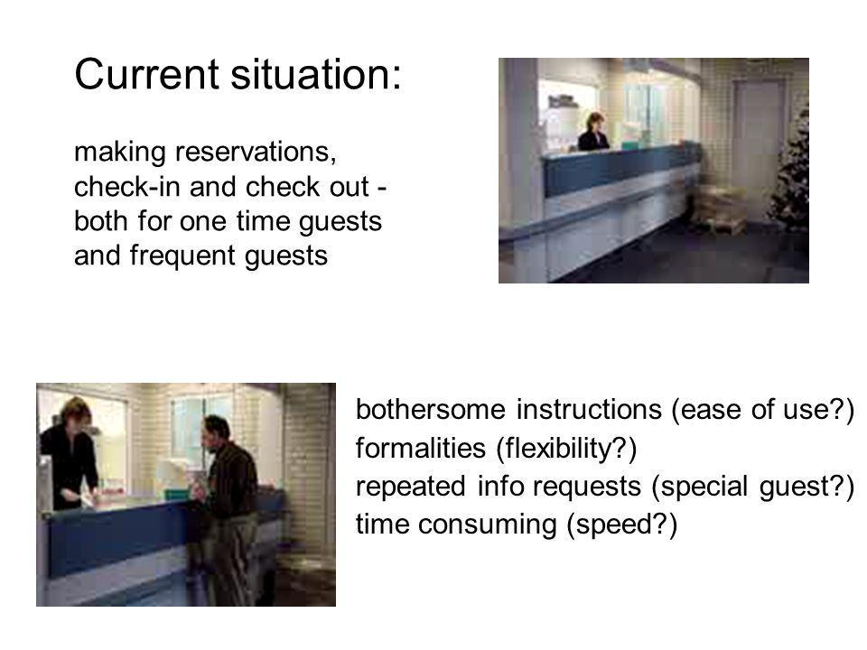 Current situation: making reservations, check-in and check out - both for one time guests and frequent guests bothersome instructions (ease of use?) f