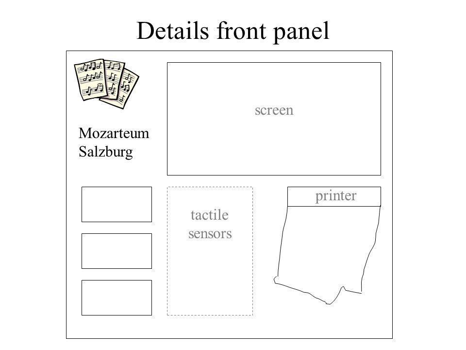 Details front panel screen tactile sensors printer Mozarteum Salzburg
