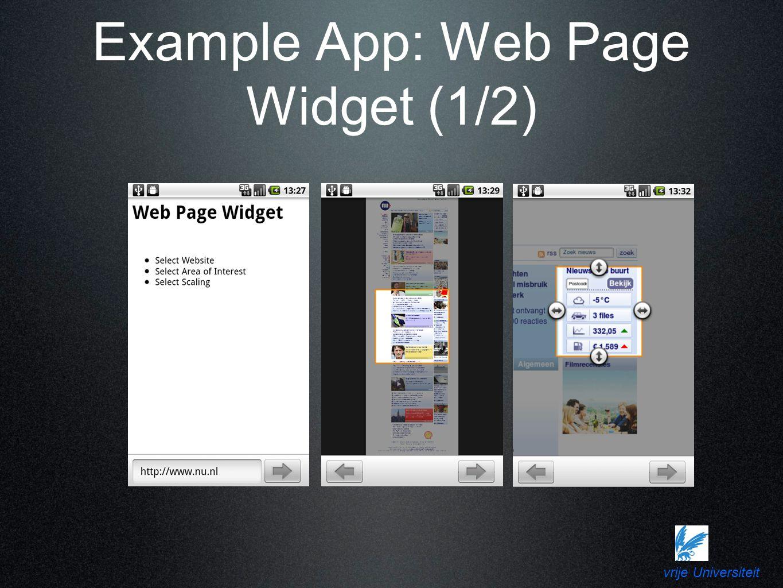 vrije Universiteit Example App: Web Page Widget (1/2)