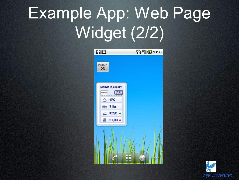 vrije Universiteit Example App: Web Page Widget (2/2)