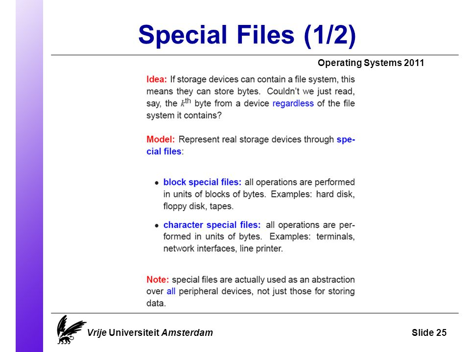 Special Files (1/2)‏ Operating Systems 2011 Vrije Universiteit AmsterdamSlide 25