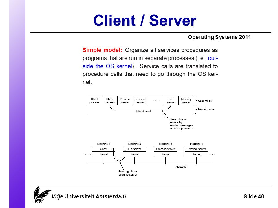 Client / Server Operating Systems 2011 Vrije Universiteit AmsterdamSlide 40