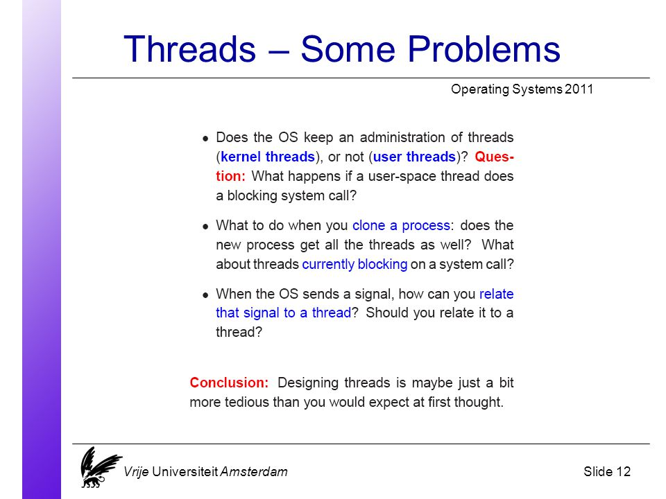 Threads – Some Problems Operating Systems 2011 Vrije Universiteit AmsterdamSlide 12