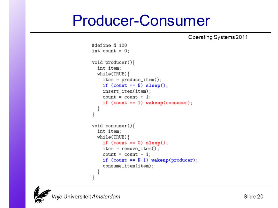 Producer-Consumer Operating Systems 2011 Vrije Universiteit AmsterdamSlide 20