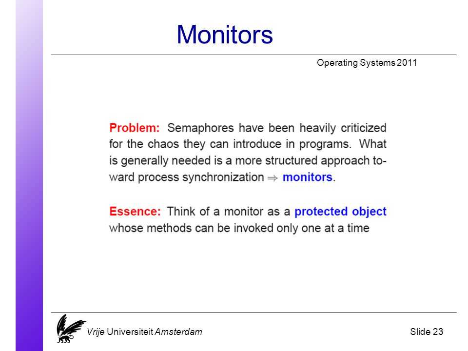 Monitors Operating Systems 2011 Vrije Universiteit AmsterdamSlide 23
