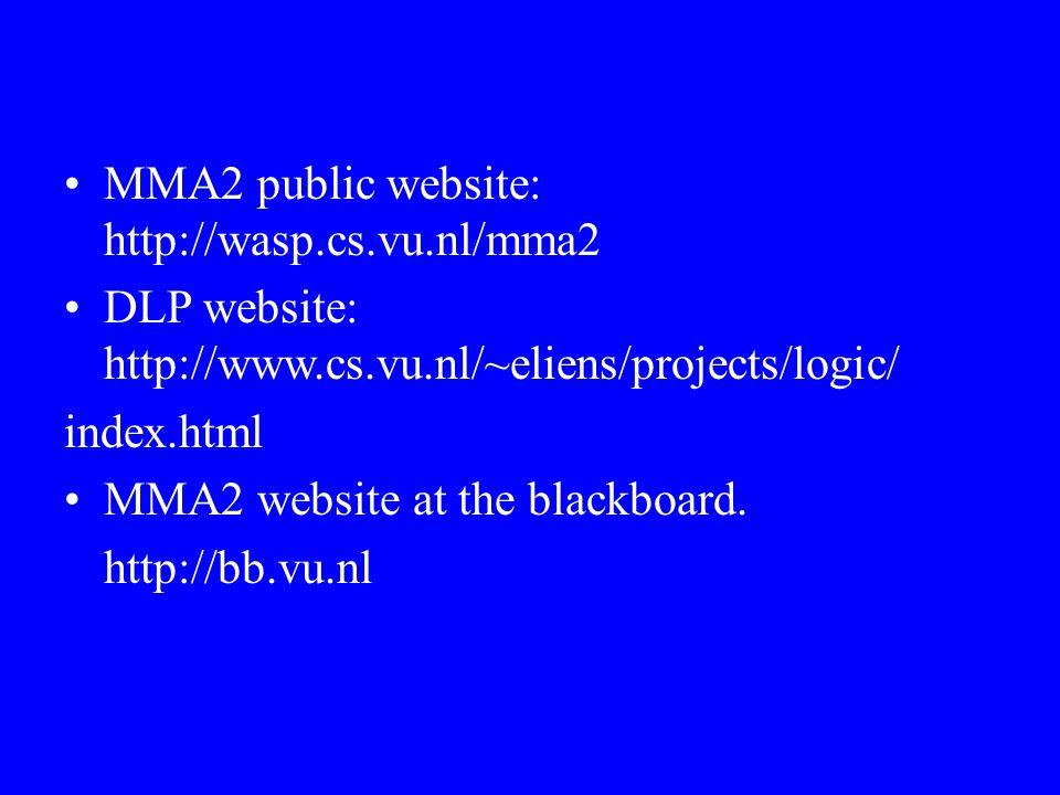 MMA2 public website: http://wasp.cs.vu.nl/mma2 DLP website: http://www.cs.vu.nl/~eliens/projects/logic/ index.html MMA2 website at the blackboard. htt