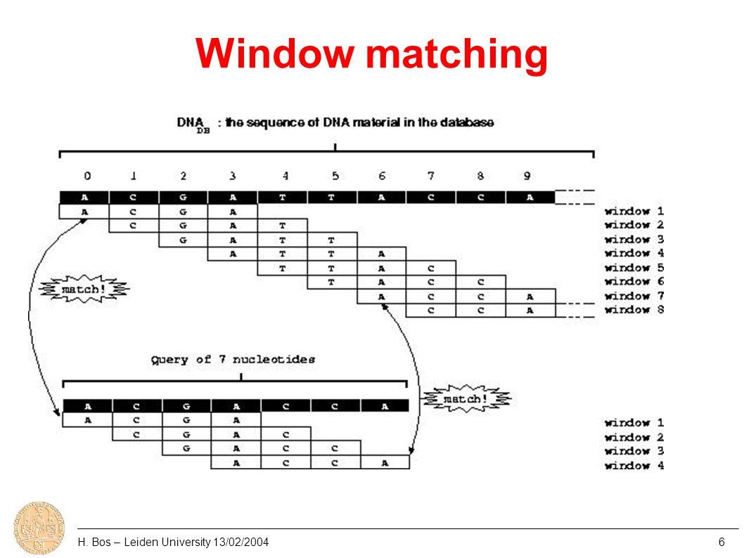 Window matching H. Bos – Leiden University 13/02/20046