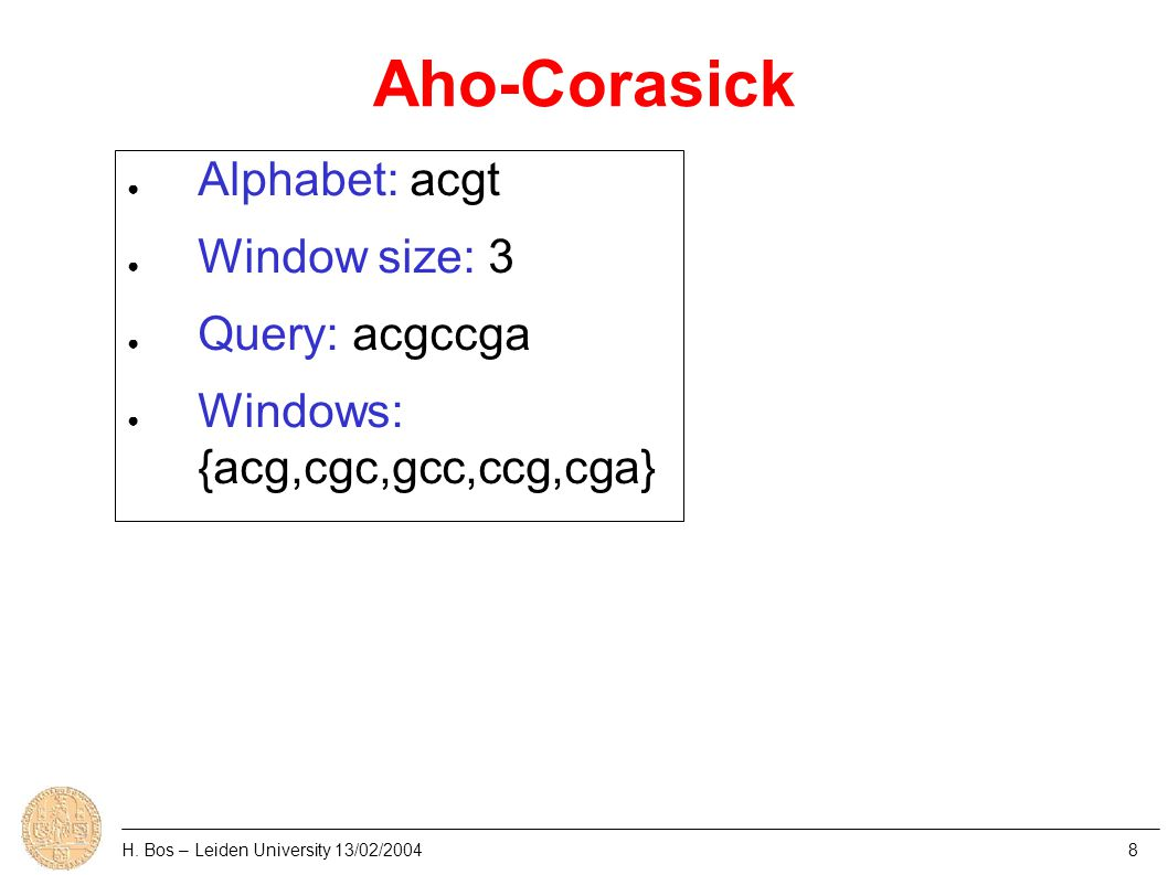 Aho-Corasick H. Bos – Leiden University 13/02/20048 ● Alphabet: acgt ● Window size: 3 ● Query: acgccga ● Windows: {acg,cgc,gcc,ccg,cga}