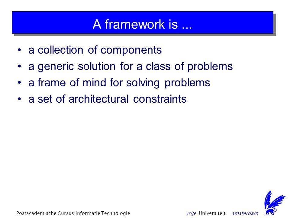 vrije Universiteit amsterdamPostacademische Cursus Informatie Technologie A framework is...