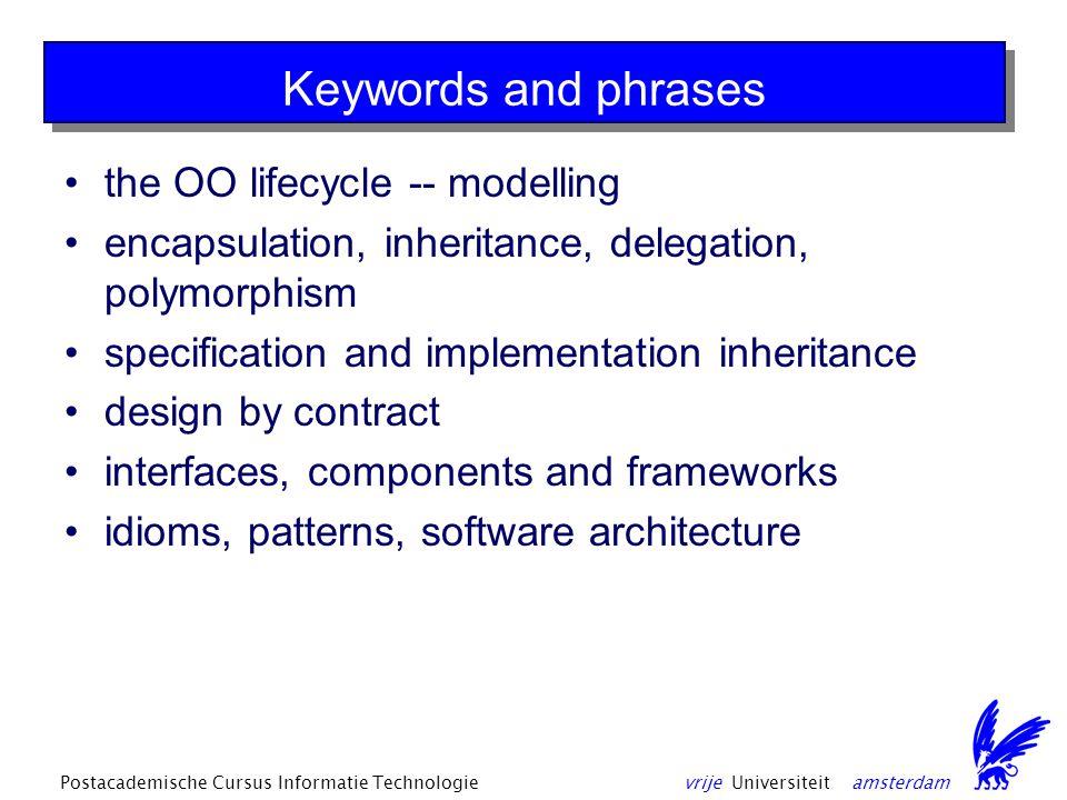 vrije Universiteit amsterdamPostacademische Cursus Informatie Technologie Basic OO Technolology Technology determines the effectiveness of the approach