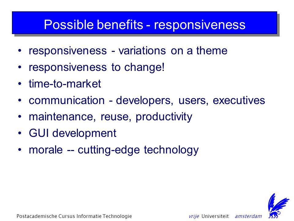 vrije Universiteit amsterdamPostacademische Cursus Informatie Technologie Possible benefits - responsiveness responsiveness - variations on a theme responsiveness to change.