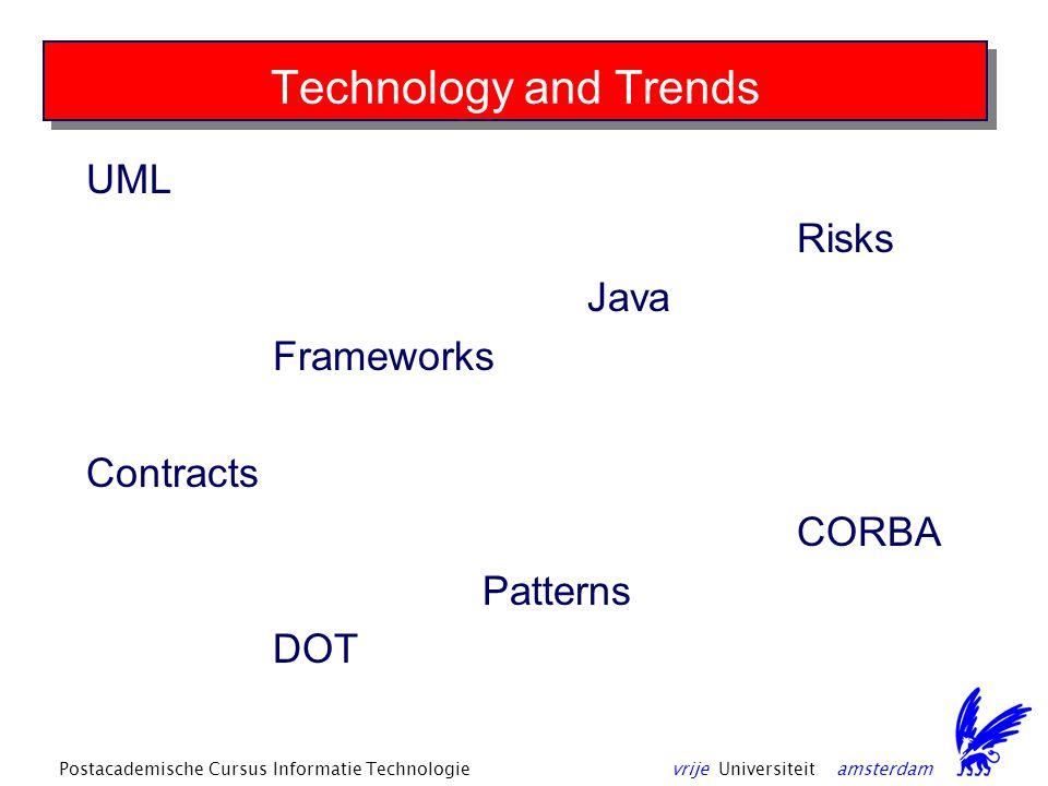 vrije Universiteit amsterdamPostacademische Cursus Informatie Technologie Technology and Trends UML Risks Java Frameworks Contracts CORBA Patterns DOT