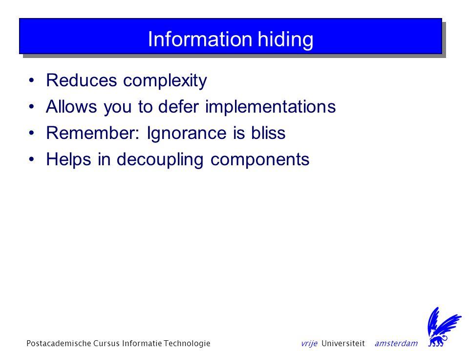 vrije Universiteit amsterdamPostacademische Cursus Informatie Technologie Drawbacks Are YOU underestimating.