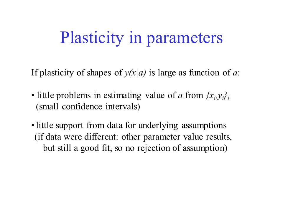 Plasticity in parameters If plasticity of shapes of y(x|a) is large as function of a: little problems in estimating value of a from {x i,y i } i (small confidence intervals) little support from data for underlying assumptions (if data were different: other parameter value results, but still a good fit, so no rejection of assumption)
