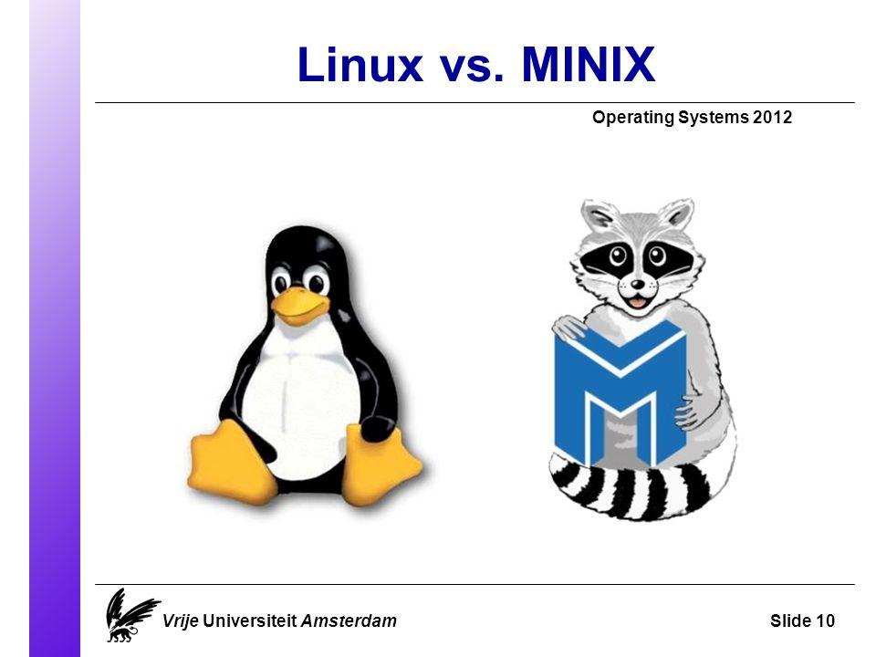 Linux vs. MINIX Vrije Universiteit AmsterdamSlide 10 Operating Systems 2012