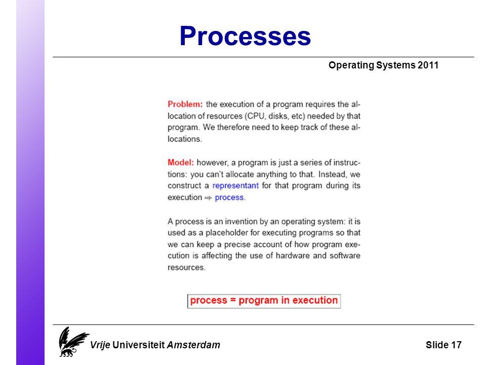 Processes Operating Systems 2011 Vrije Universiteit AmsterdamSlide 17