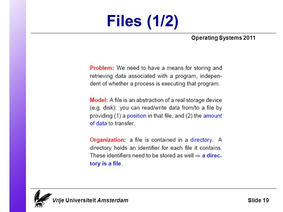 Files (1/2) Operating Systems 2011 Vrije Universiteit AmsterdamSlide 19